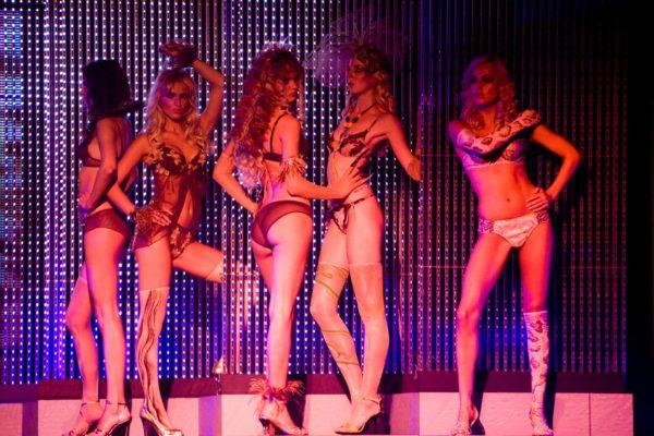 Modelky pózují u obříjo LCD panelu 5. července 2008 na třetím ročníku přehlídky luxusního spodního prádla Top Secret v hotelu Hilton v Praze. MIKULÁŠ KŘEPELKA / MEDIAFAX